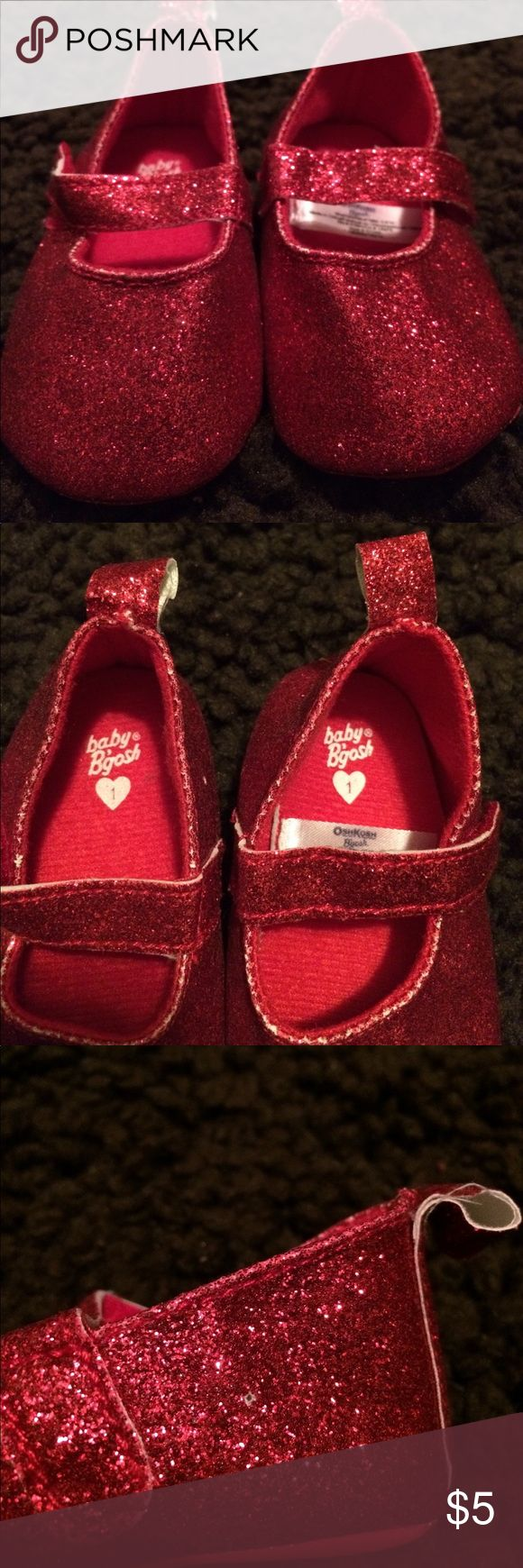 Red Glitter Shoes Brand new condition, used only for maternity photos. Each shoe has a small hole from security tag (see photo). Osh Kosh Shoes Baby & Walker