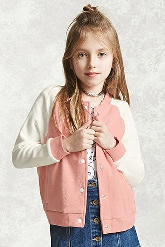 Forever 21 Girls - A French terry sweatshirt featuring a rose chest patch, round neckline, and long sleeves.