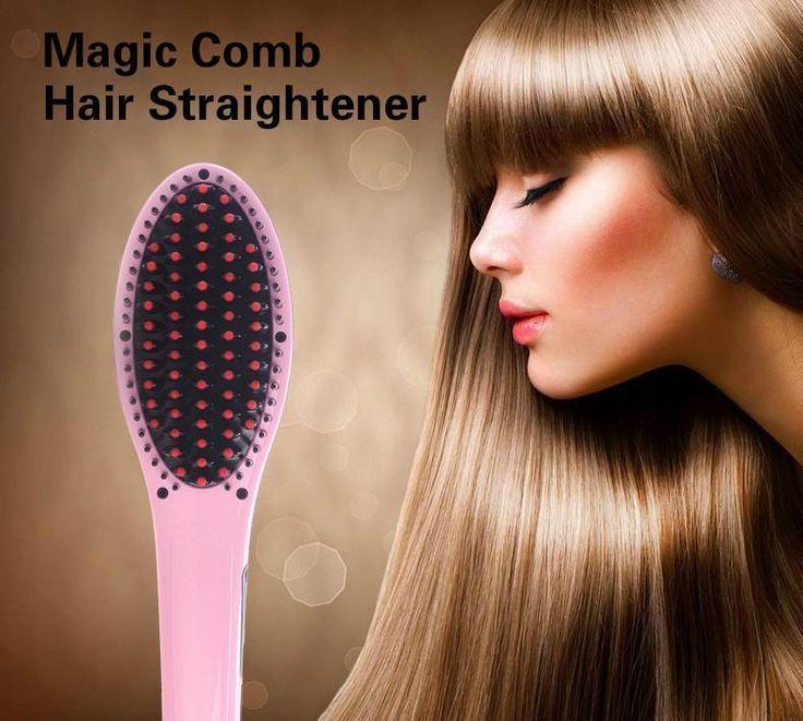Pink Digital Anti Static Ceramic Hair Straightener Heating Detangling Hair Brush #hair #straightener #heating #detangling #brush #ceramic #digital #anti #static #pink