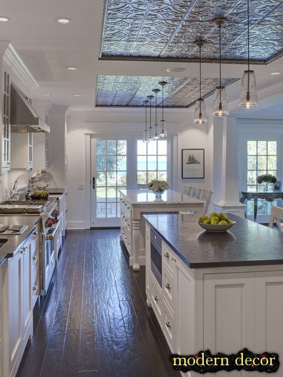 decorating Kitchen ideas 2013 Love the tin ceiling inserts and the floor!