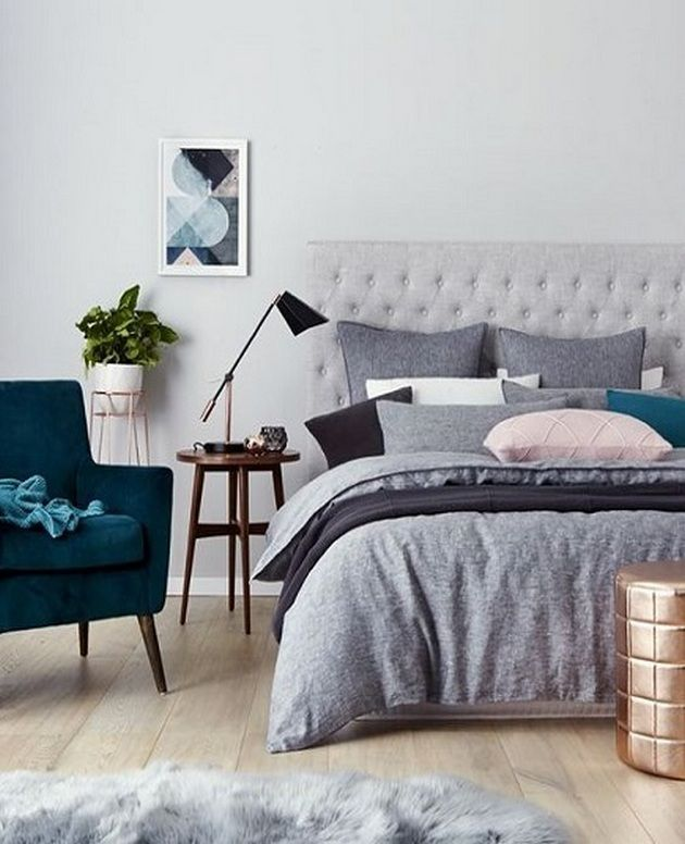 design bedroom%0A Beautiful Grey Upholstered Bed Decor Color Schemes