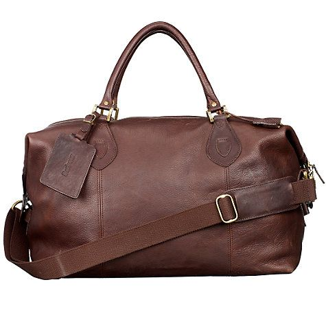 Like this, but ideally with little wheels. Barbour Leather Travel Explorer Holdall at johnlewis.com