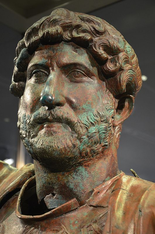 Bronze statue of Hadrian, found at the Camp of the Sixth Roman Legion in Tel Shalem, 117–138 AD, Israel Museum, Jerusalem | da Following Hadrian