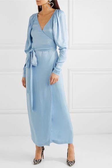 efb46df6301a ROTATE - Satin Wrap Maxi Dress - Light blue | short dresses/skirts ...
