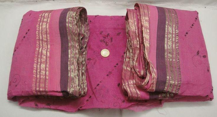 Embroided Vintage 100% Pure Cotton Fabric Sari Indian Zari Border Saree