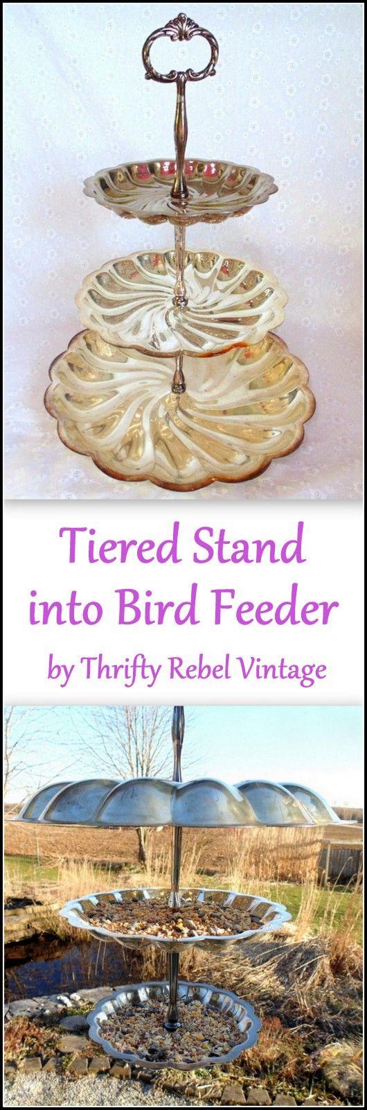 repurposed tiered stand birdfeeder by Thrifty Rebel Vintage