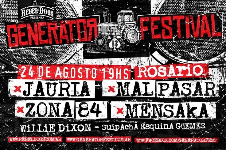 REBEL DOGS PRESENTA:  ✪GENERATOR FESTIVAL 2013✪ 24 DE AGOSTO• 5 CIUDADES-LA MISMA NOCHE! pasa por la pág y enterate de mas!! www.generatorfest.com.ar// www.facebook.com/generatorfest REBEL DOGS, pagina dedicada a la venta de merchandising de bandas punks!