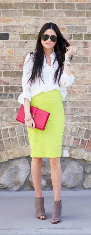 Hang Up My Purse/bag www.humphooks.com Lime Green Strench Pencil Skirt with Pop Clutch Purse by Pink Peoines