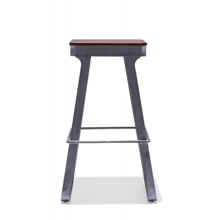 Flint Bar Stool — Super Scandinavian! The Flint Bar Stool pairs tight wooden slats with sleek steel legs for a perfect outdoor seat for any long summer night under the stars.