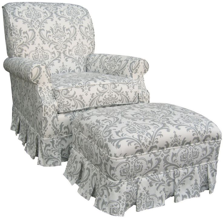 Shabby Chic Grey And White Damask Upholstered By