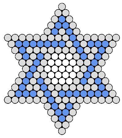 Blue And White Jewish Star Perler Bead Pattern / Bead Sprite