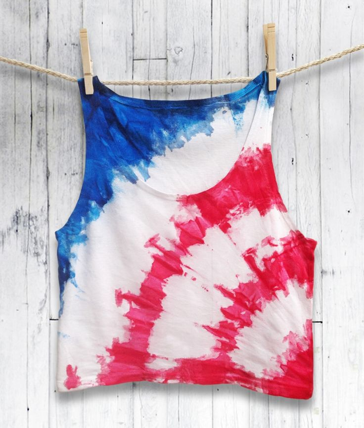Tie Dye, Tie Dye Crop Top, Crop Top, Red, White, Blue, Crop Top, Tie Dye, Boho, Bohemian Style, Boho Top, Tie Dye Shirt, 4th of July, Independence Day, at COCOLAGO