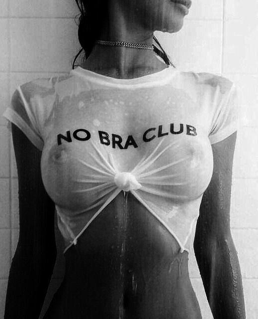 Black girl white shirt no bra