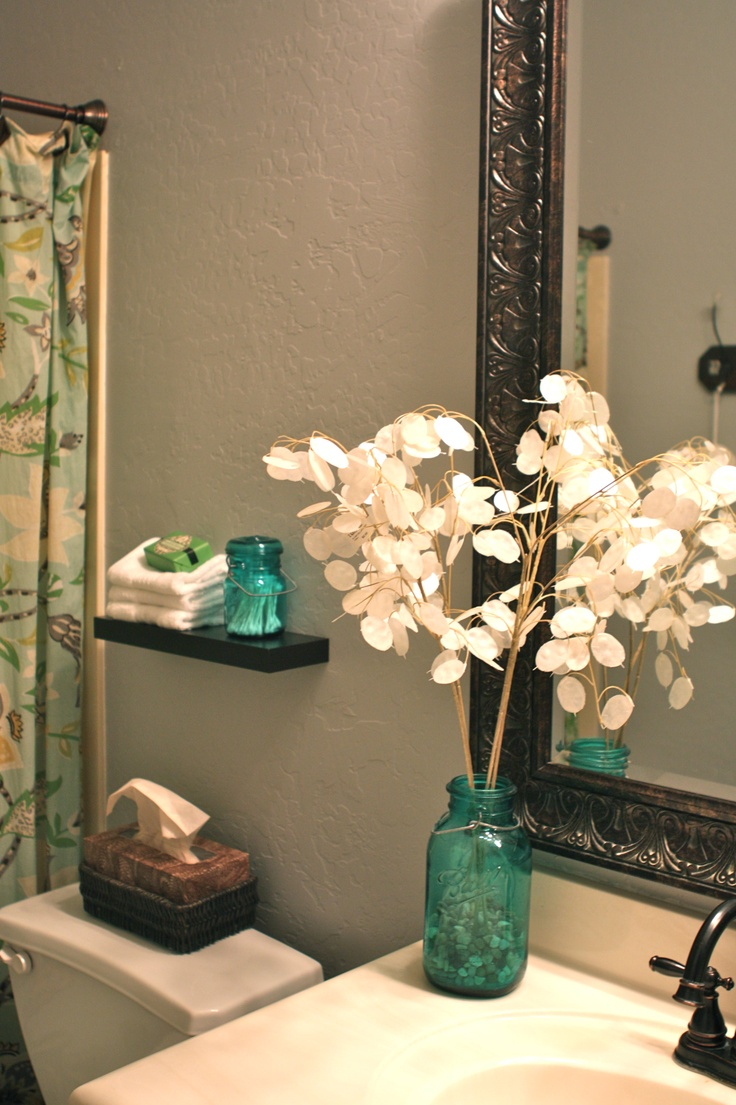 12 best bathroom images on pinterest blue mason jars from goodwill in bathroom perfect for qtips and flowers decorating bathroomsdiy bathroom decordiy room