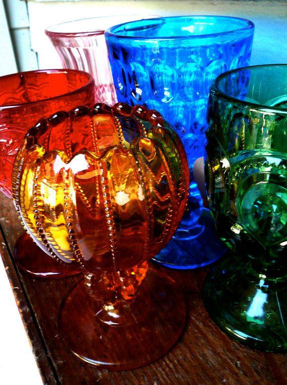 Vintage Glasses 5 Jewel Tones by LunaParkVintage on Etsy, $95.00