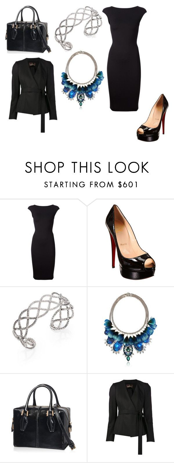 """Untitled #26281"" by edasn12 ❤ liked on Polyvore featuring The Row, Christian Louboutin, John Hardy, Bijoux de Famille, Tod's and Roberto Cavalli"