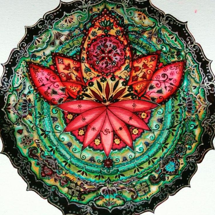 My sweet mandala Lotus flower Lyra aqua brush duo, Marvy for drawing 0.1