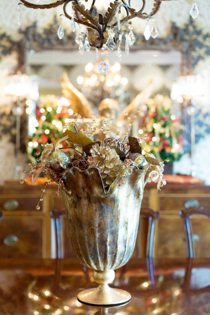 Holiday home tours christmas centerpiece ideas gold