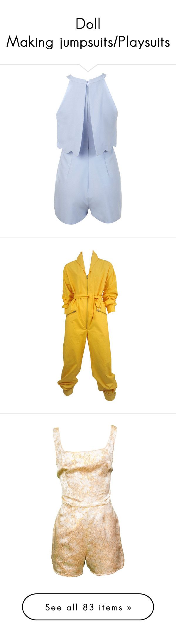 """""""Doll Making_jumpsuits/Playsuits"""" by auntiehelen ❤ liked on Polyvore featuring jumpsuits, rompers, blue, petite, playsuit romper, blue rompers, blue romper, miss selfridge, suits outfits and ensembles и yellow rompers"""