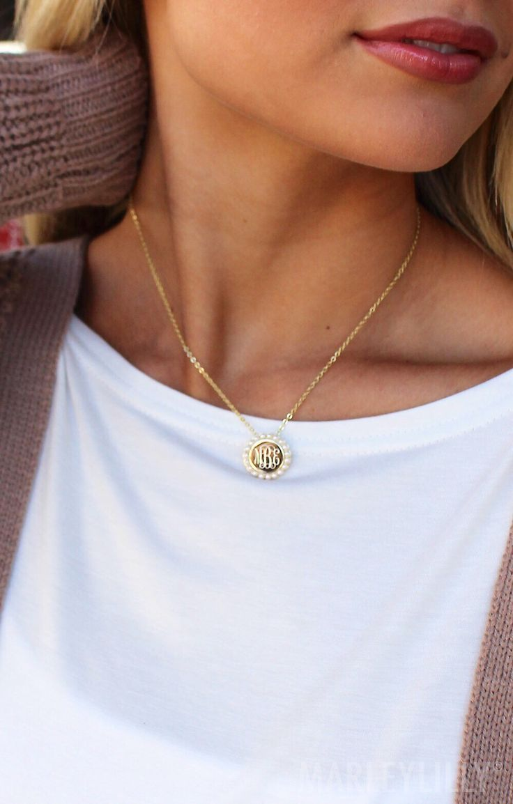 How Beautiful Is This New Monogrammed Pearl Necklace From Marleylilly?!?!  Shop Now