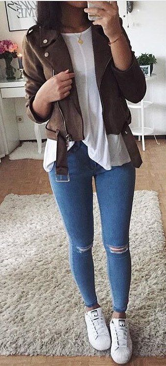 #winter #outfits /  Camel Jacket // White Tulle Top // Ripped Skinny Jeans // White Sneakers