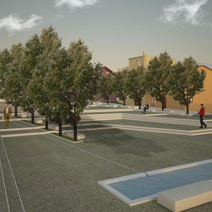 Render esterno - Project piazza Bagnoli Irpino (Av)  3ds Max - Vray - Photoshop