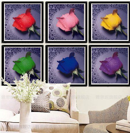 Roses with Dew Drops Wall Art. Beading Paint-by-number Cross Stitch Kit. Blue Moon Needlecrafts Diamond Painting DIY Kit.