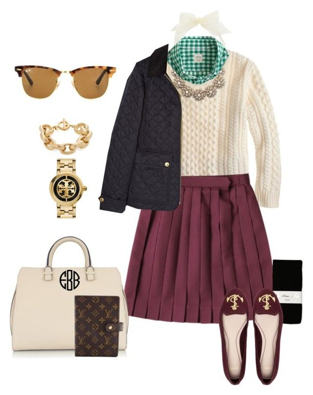 """""""Finding Inspiration on a cold cloudy day..."""" by prepstepkate on Polyvore featuring J.Crew, Jonathan Aston, Kate Spade, Burberry, Pull&Bear, Tory Burch, Victoria Beckham, Rivka Friedman, Ray-Ban and Louis Vuitton"""
