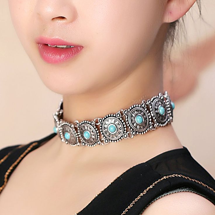 Turquoise Boho Choker Necklace,Navajo,Aztec Silver Choker,Squash Blossom,Native American Jewelry,Turquoise Silver Choker,Bohemian necklace by mylittledainty on Etsy