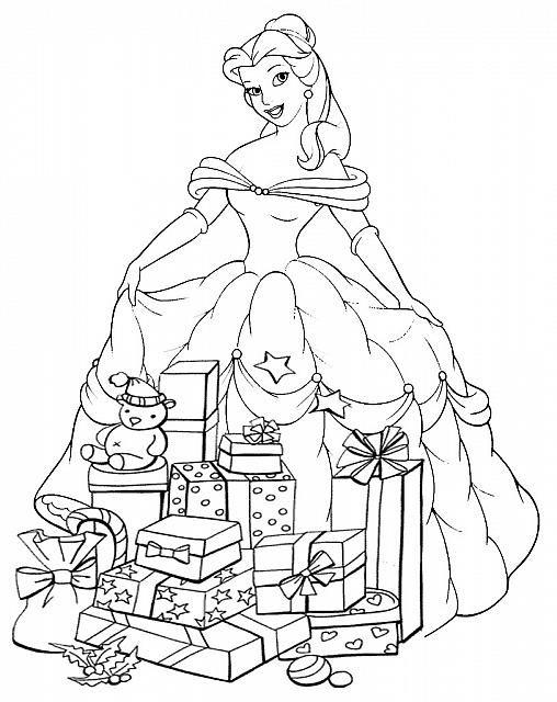 Belle Con Regali Disegno Di Natale Da Colorare Color It Disney