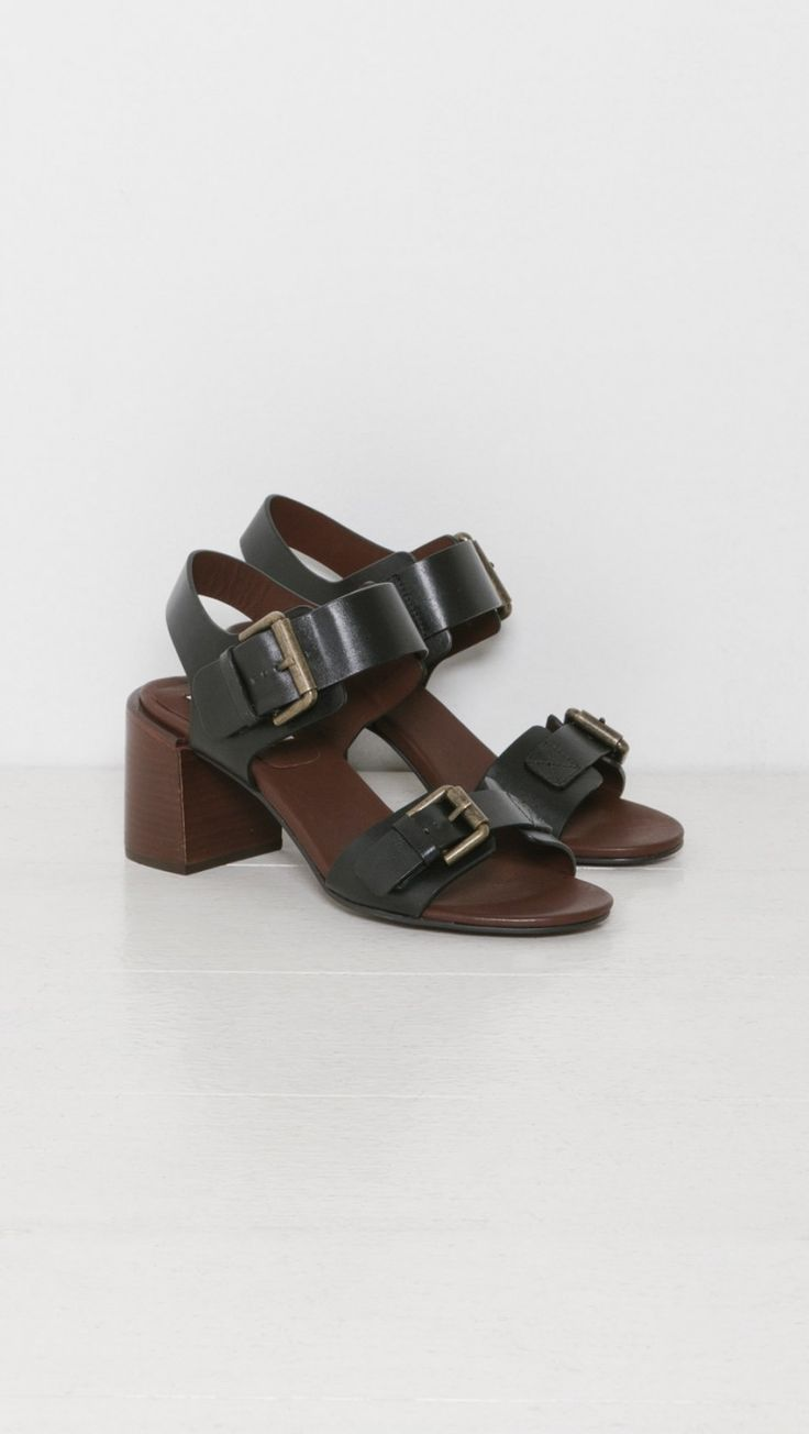 See by Chloe Double Buckle High Sandal in Black   The Dreslyn