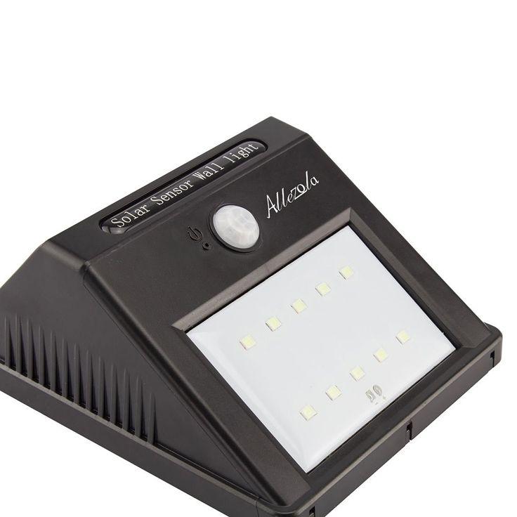 Allezola 10 helle LED Solarleuchten Drahtlose Wasserdicht Solarlampe Wandleuchte Solarlampe mit Bewegungsmelder