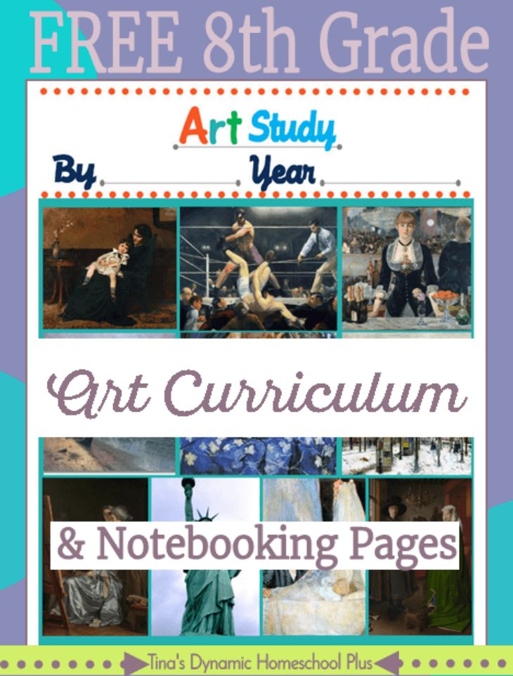 Free 8th Grade Art Curriculum and notebooking pages. Pssst! She has several other grades free too. Grab them over @ Tina's Dynamic Homeschool Plus