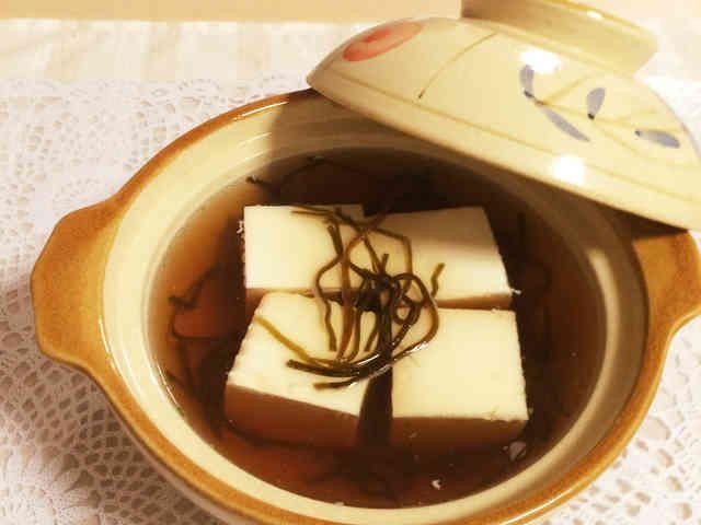1人分♤レンジ湯豆腐♤塩昆布出汁での画像