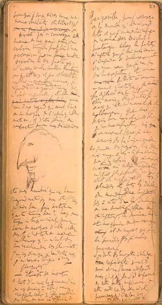 ¤ MARCEL PROUST, Carnets de notes, 1908-1918. carnets autographes couverts de toile bise ornée de figurines aux formes étirées, BNF.