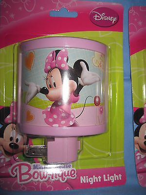 DISNEY Minnie Mouse Bow -Tique Night Light Children`s Bedroom NIP Light Pink