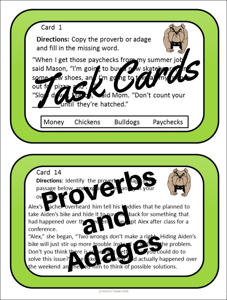 Task cards to practice identifying and understanding the meanings of proverbs or adages.  For middle school and upper elementary language arts and reading classes.