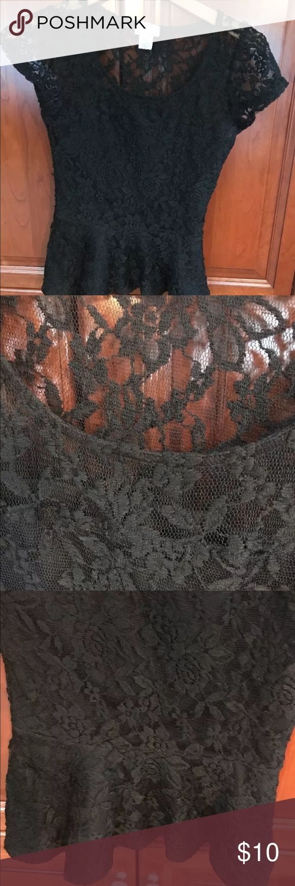 Gorgeous Black Lace Peplum Top SZ Small Gorgeous Black Lace Lined Peplum Top Size Small . Gorgeous , Can be dressed up or down . Excellent Quality and Condition! Tops Blouses