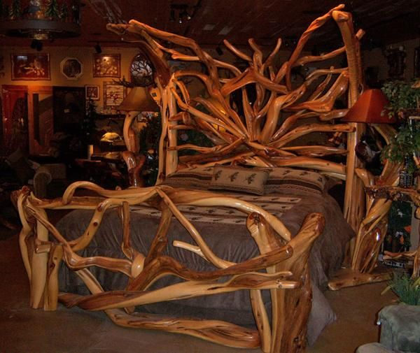i wish!: Burl Wood, Logs Beds, Ideas, Logs Cabins Bedrooms, Wood Furnishings, Bedroom Furniture, Juniper Wood, Mission Beds, Rustic Bedrooms Furniture