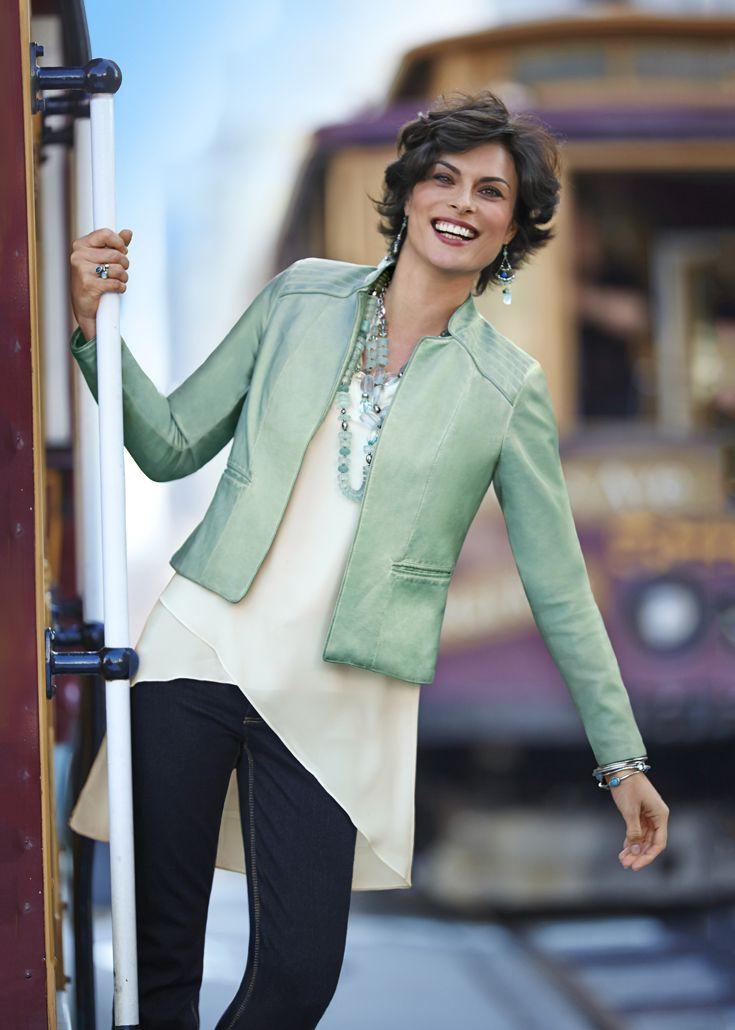 Mint Faux-Leather Jacket #DestinationFabulous #spring #chicos
