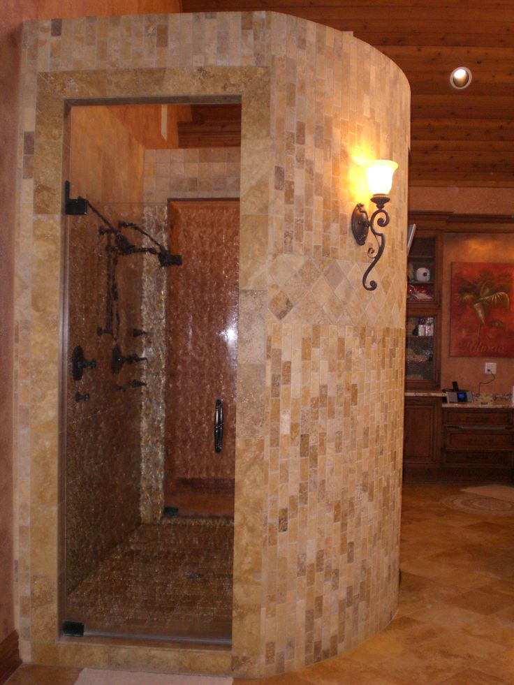 Walkthrough master bathroom shower designs walk through for Master bathroom no door