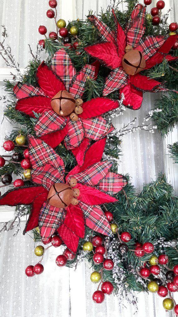 Christmas Wreath Plaid Poinsettias Holiday Front Door
