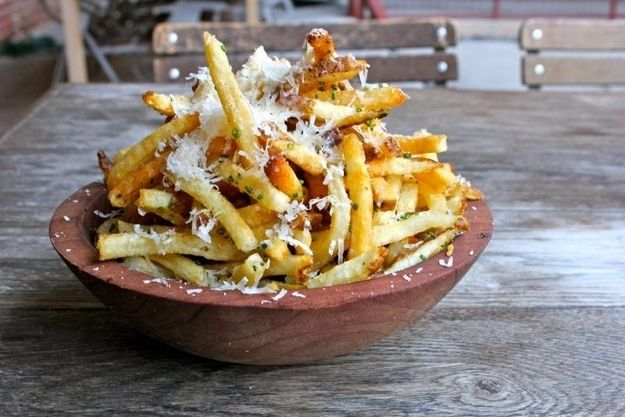 """Because fries covered in Parmesan cheese are the perfect companion to a night of watching re-runs of """"The Golden Girls."""""""