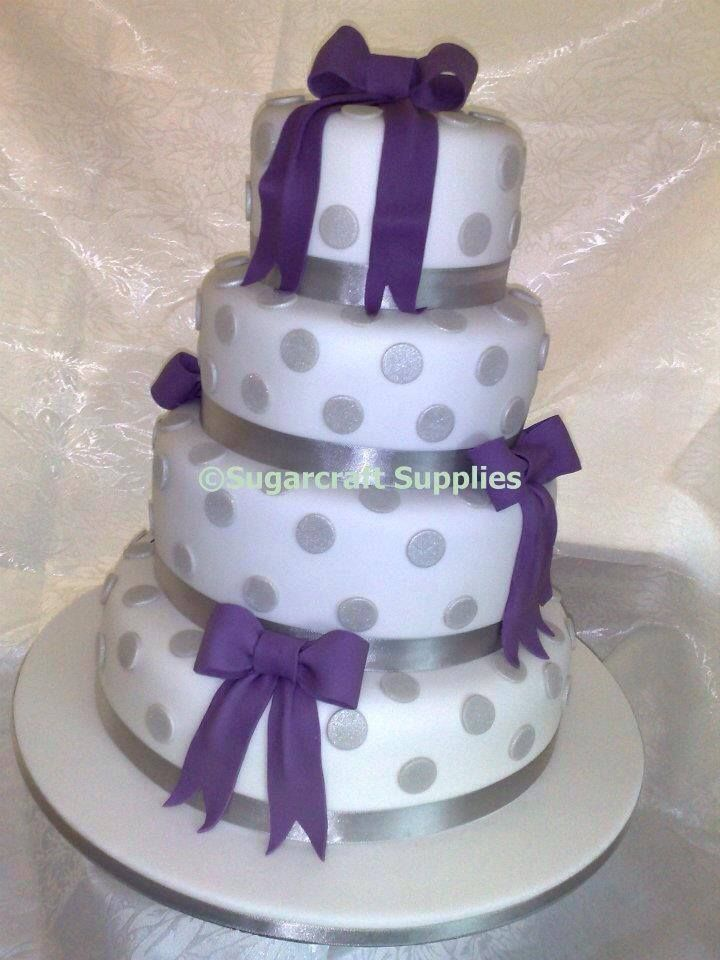 The 94 best sugarcraft supplies cake decorating shop tuition white four tier wedding cake with purple sugarpaste ribbon bows and silver dots tier wedding cakessugarcraft suppliesribbon bowsribbonsleedscake junglespirit Gallery