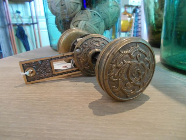 brass eastlake entry knobs set with rosettes 2 dia - Shower Knobs