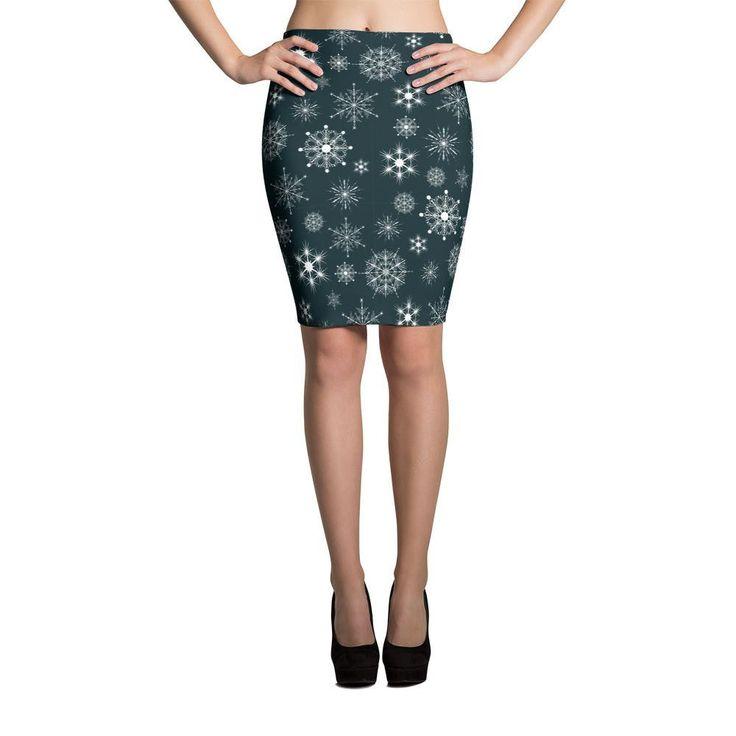 Black Snowflake Pattern Cut & Sew Pencil Skirt