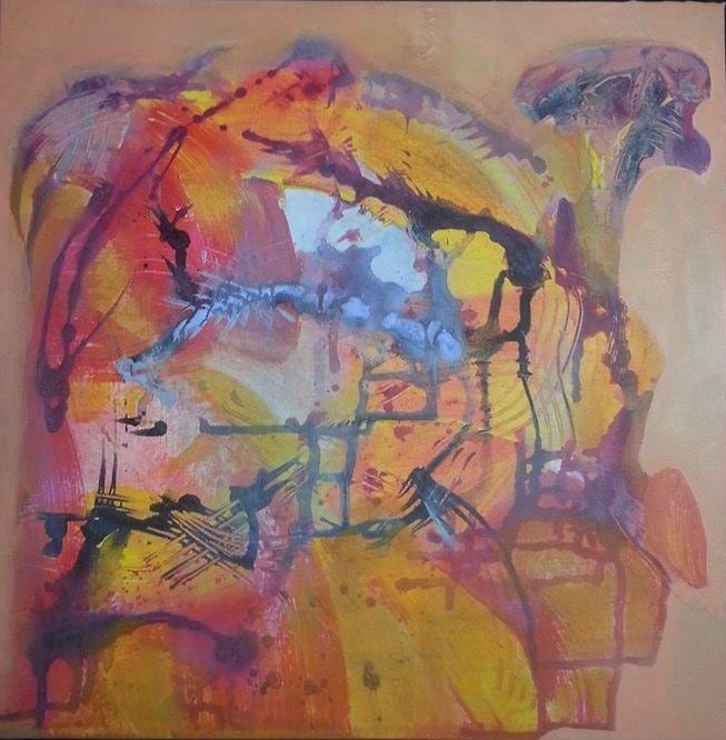 Orange 2, Acrylic on canvas, 40 cm x 40 cm