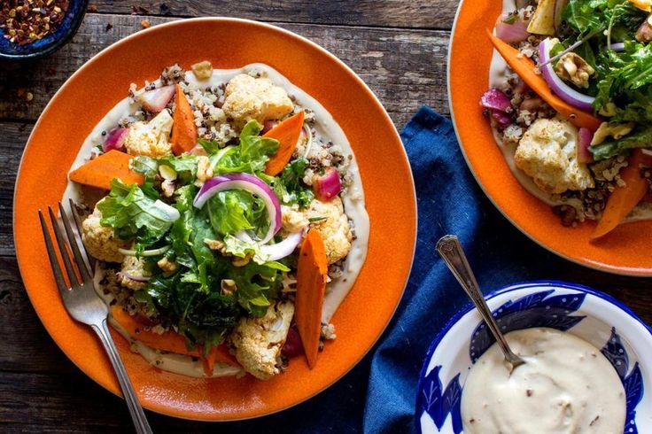 Mediterranean quinoa salad with ras el hanout–roasted greens