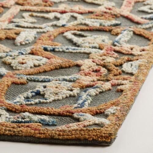 Embroidered Floral Tufted Wool Area Rug | World Market