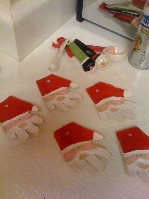 Dough Santa Hand ornaments